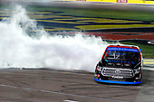 #16: Austin Hill, Hattori Racing Enterprises, Toyota Tundra Weins Canada celebrates his win with a burnout