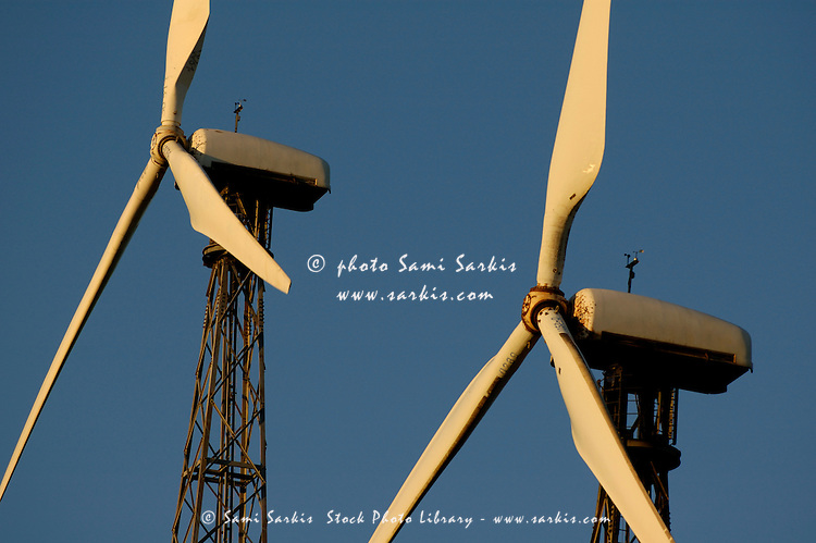 Wind turbines against blue sky, Tarifa, Andalusia, Spain.
