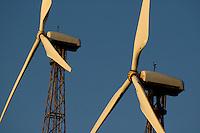 Wind turbines against blue sky, Tarifa, Andalusia, Spain.