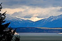 Lake Koocanusa in northwest Montana the snow capped Rocky Mountains in the distance.