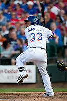 Round Rock Express first baseman Michael Bianucci #33 at bat during the MLB exhibition baseball game against the Texas Rangers on April 2, 2012 at the Dell Diamond in Round Rock, Texas. The Rangers out-slugged the Express 10-8. (Andrew Woolley / Four Seam Images).