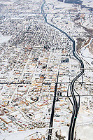 Pueblo Colorado winter aerial