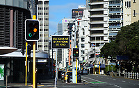 Featherston Street, Wellington CBD at 10.30am, Monday during Level 4 lockdown for the COVID-19 pandemic in Wellington, New Zealand on Monday, 30 August 2021.
