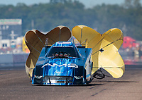 Aug 18, 2019; Brainerd, MN, USA; NHRA funny car driver Bob Tasca III during the Lucas Oil Nationals at Brainerd International Raceway. Mandatory Credit: Mark J. Rebilas-USA TODAY Sports