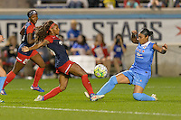 Chicago, IL - Saturday Sept. 24, 2016: Crystal Dunn, Samantha Johnson during a regular season National Women's Soccer League (NWSL) match between the Chicago Red Stars and the Washington Spirit at Toyota Park.