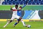 v.li.: Orel Mangala (VfB, 23), Andrej Kramaric (Hoffenheim, 27), Zweikampf, Spielszene, Duell, duel, tackle, tackling, Dynamik, Action, Aktion, 21.11.2020, Sinsheim  (Deutschland), Fussball, Bundesliga, TSG 1899 Hoffenheim - VfB Stuttgart, DFB/DFL REGULATIONS PROHIBIT ANY USE OF PHOTOGRAPHS AS IMAGE SEQUENCES AND/OR QUASI-VIDEO. <br /> <br /> Foto © PIX-Sportfotos *** Foto ist honorarpflichtig! *** Auf Anfrage in hoeherer Qualitaet/Aufloesung. Belegexemplar erbeten. Veroeffentlichung ausschliesslich fuer journalistisch-publizistische Zwecke. For editorial use only.