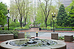 A foggy spring day at Angell-Memorial Plaza in the Financial District of Boston, MA, USA
