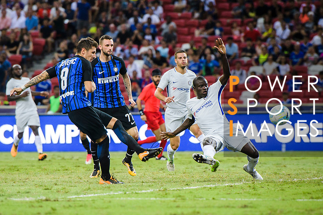 FC Internazionale Forward Stevan Jovetic (L) attempts a kick while being defended by Chelsea Midfielder N'Golo Kante (R) during the International Champions Cup 2017 match between FC Internazionale and Chelsea FC on July 29, 2017 in Singapore. Photo by Marcio Rodrigo Machado / Power Sport Images