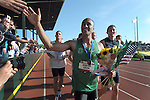Ashton Eaton greets the crowd after winning the men's decathlon at the U.S. Outdoor Track and Field Championships in Eugene, Oregon June 24, 2011.  REUTERS/Steve Dykes (UNITED STATES)