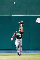 Baylor Bears outfielder Logan Vick #19 makes a catch during the NCAA Regional baseball game against Oral Roberts University on June 3, 2012 at Baylor Ball Park in Waco, Texas. Baylor defeated Oral Roberts 5-2. (Andrew Woolley/Four Seam Images)