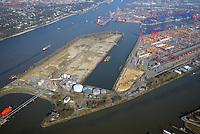 Westerweiterung Predöhlkai: EUROPA, DEUTSCHLAND, HAMBURG, (EUROPE, GERMANY), 28.03.2017 Im westlichen Hafenteil Waltershof betreibt die EUROGATE-Gruppe ihren großen Hamburger Container Terminal zur Abfertigung von See- und Binnenschiffen. Bis 2019 soll der Terminal in Richtung Elbe/Bubendey-Ufer erweitert werden, sodass die Umschlagkapazität von derzeit 4,1 Millionen TEU auf 6 Millionen TEU ausgebaut werden kann. Auf dem Terminal befindet sich auch einer von Deutschlands größten KV-Bahnhöfen, der von dem EUROGATE-Joint-Venture EUROKOMBI betrieben wird. Aktuell stehen hier elf Ganzzug-Gleise und acht schienengeführte Kranbrücken zum Be- und Entladen der Containerwaggons zur Verfügung.  Das Projekt Westerweiterung ist durch die Behörde für Wirtschaft, Verkehr und Innovation planfestgestellt worden. Der Beschluss wurde am 6. Dezember 2016 an die Verfahrensbeteiligten versandt. Der Planfeststellungsbeschluss beschäftigt sich intensiv mit unterschiedlichen Umweltbelangen und den mit der Terminalerweiterung verbundenen Lärmemissionen. Vorgesehen ist die Errichtung einer Kaimauer mit einer Gesamtlänge von 1050 Metern, welche an die vorhandenen Liegeplätze am Predöhlkai anschließt und von dort zunächst 600 Meter in nordwestliche Richtung bis zur Elbe verläuft, dort nach Westen abknickt und parallel zum Bubendey-Ufer fortgeführt wird. Zusätzlich werden wasserseitig der geplanten Kailinie Böden bis zu einer Tiefe von etwa NN – 17,3 m abgetragen und damit Zufahrts- und Liegeplatzbereiche vertieft. Der vorhandene Drehkreis für Schiffe in der Elbe wird von heute 480 m auf zukünftig 600 m vergrößert. Außerdem soll im Rahmen der Umsetzung der Westerweiterung eine Fläche von etwa 38 ha als zukünftige Terminalfläche hergestellt werden. Dies ist mit der vollständigen Verfüllung des Petroleumhafens auf einer Fläche von etwa 13 ha verbunden. Die bestehende Richtfeuerlinie wird versetzt, ebenso ein Radarturm an das süd-östliche Ende des Waltershofer