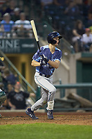 Parker Meadows (18) of the West Michigan Whitecaps follows through on his swing against the Fort Wayne TinCaps at Parkview Field on August 5, 2019 in Fort Wayne, Indiana. The TinCaps defeated the Whitecaps 9-3. (Brian Westerholt/Four Seam Images)