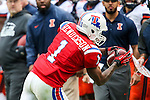 Louisiana Tech Bulldogs wide receiver Carlos Henderson (1) in action during the Heart of Dallas Bowl Bowl game between the Illinois Fighting Illini and the Louisiana Tech Bulldogs at the Cotton Bowl Stadium in Dallas, Texas. Louisiana defeats Illinois 35 to 18.