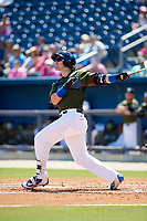 Biloxi Shuckers right fielder Clint Coulter (40) hits an RBI sacrifice fly during a game against the Jacksonville Jumbo Shrimp on May 6, 2018 at MGM Park in Biloxi, Mississippi.  Biloxi defeated Jacksonville 6-5.  (Mike Janes/Four Seam Images)