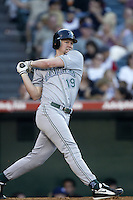 Aubrey Huff of the Tampa Bay Devil Rays bats during a 2002 MLB season game against the Los Angeles Angels at Angel Stadium, in Los Angeles, California. (Larry Goren/Four Seam Images)