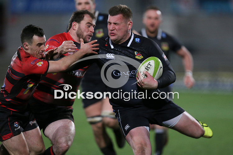 Friday 8th February 2019   First Trust Ulster Senior Cup Final<br /> <br /> Rodger McBurney driving play forward during the First Trust Ulster Senior Cup Final between Armagh and Ballymena at Kingspan Stadium, Ravenhill Park, Belfast, Northern Ireland. Photo by John Dickson / DICKSONDIGITAL