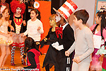 Children in costume rehearsing or performing skit, school for musically gifted children mixed grades 1-3