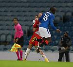 18.3.2021 Rangers v Slavia Prague: Glen Kamara collides with Alexander Bah and gets booked