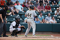 Aaron Shackelford (44) of the Greensboro Grasshoppers at bat against the Winston-Salem Dash at Truist Stadium on June 19, 2021 in Winston-Salem, North Carolina. (Brian Westerholt/Four Seam Images)