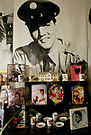 'ELVIS FANS', DISPLAY OF ELVIS PRESLEY GIFTS, SOUVENIRS, MEMROBILIA, BOOKS & POSTERS ON SALE IN THE SHOP 'ELVISLY YOURS', LONDON