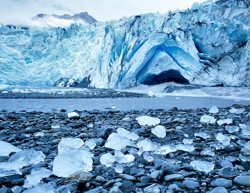 Icebergs and melting ice. Shoup Bay Glacier, Alaska
