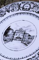 Europe/France/Aquitaine/33/Gironde/Saint-Laurent-Médoc: Le Château Camensac (AOC Haut-Médoc) - Détail d'une assiette représentant le Château