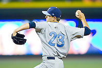 Starting pitcher Jake Odorizzi #23 of the Wilmington Blue Rocks in action against the Winston-Salem Dash at BB&T Ballpark on April 23, 2011 in Winston-Salem, North Carolina.   Photo by Brian Westerholt / Four Seam Images