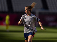 KASHIMA, JAPAN - AUGUST 5: Samantha Mewis #3 of the USWNT warms up before a game between Australia and USWNT at Kashima Soccer Stadium on August 5, 2021 in Kashima, Japan.