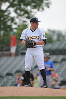 Trenton Thunder pitcher Mark Montgomery (34) during game against the Akron RubberDucks at ARM & HAMMER Park on July 14, 2014 in Trenton, NJ.  Akron defeated Trenton 5-2.  (Tomasso DeRosa/Four Seam Images)