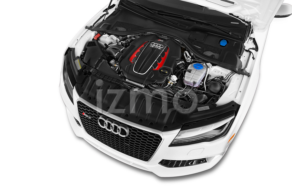 Car stock 2015 Audi RS7  quattro tiptronic Prestige 5 Door Hatchback engine high angle detail view