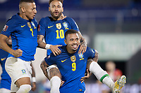 8th June 2021; Defensores del Chaco Stadium, Asuncion, Paraguay; Qatar 2022 qualifiers; Paraguay versus Brazil;  Neymar of Brazil celebrates his goal with Gabriel Jesus and Richarlison in the 4th minute 0-1