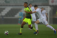 Pictured: (L-R) Andy Rinomhota of Reading challenged by Daniel James of Swansea City Monday 15 May 2017<br /> Re: Premier League Cup Final, Swansea City FC U23 v Reading U23 at the Liberty Stadium, Wales, UK