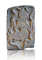 9th century BC stone Neo-Hittite/ Aramaean Orthostats from Palace Temple of the Aramaean city of Tell Halaf in northeastern Syria close to the Turkish border. The Orthostats are in a Neo Hittite style and depict mythical animals and figures that have magical properties. Pergamon Museum, Berlin Museum Inv No: OP 15