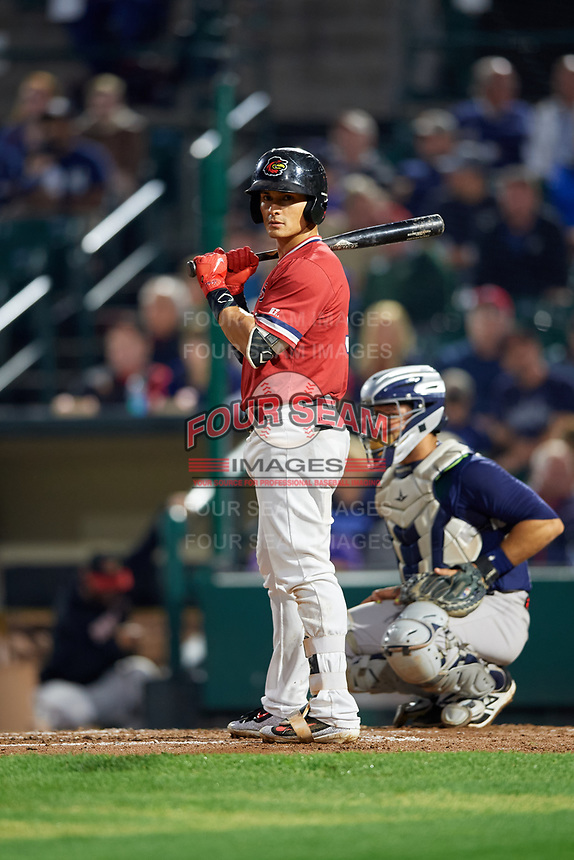 Rochester Red Wings shortstop Tommy Field (9) at bat during the first game of a doubleheader against the Scranton/Wilkes-Barre RailRiders on August 23, 2017 at Frontier Field in Rochester, New York.  Rochester defeated Scranton 5-4 in a game that was originally started on August 22nd but postponed due to inclement weather.  (Mike Janes/Four Seam Images)