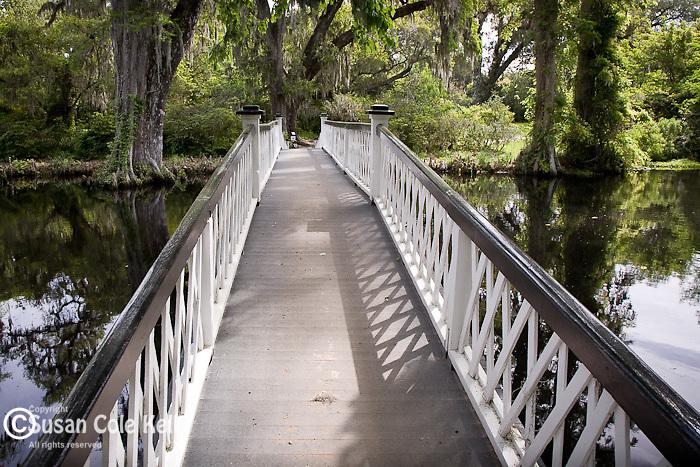Magnolia Plantation,  Long white bridge over Cypress Lake, Charleston, SC