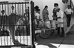 Tiger captive Mexican circus 1970s.  Wild animal shown around the town to advertise and promoting the circus. Mazatlan Mexico Mexican state of Sinaloa  1973