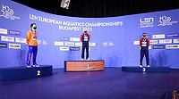 MEN - 100M BREASTSTROKE <br /> Podium<br /> Silver Medal KAMMINGA Arno NED Nederland<br /> PEATY Adam GBR Great Britain Gold Medal<br /> WILBY James GBR Greit Britain Bronze Medal<br /> Swimming<br /> Budapest  - Hungary  18/5/2021<br /> Duna Arena<br /> XXXV LEN European Aquatic Championships<br /> Photo Giorgio Scala / Deepbluemedia / Insidefoto