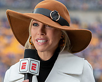 ESPN sideline reporter Olivia Dekker. The Miami Hurricanes football team defeated the Pitt Panthers 16-12 in a game at Heinz Field, Pittsburgh, Pennsylvania on October 26, 2019.