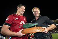 Crusaders captain Scott Barrett (left) and head coach Scott Robertson celebrate winning the 2021 Super Rugby Aotearoa final between the Crusaders and Chiefs at Orangetheory Stadium in Christchurch, New Zealand on Saturday, 8 May 2021. Photo: Joe Johnson / lintottphoto.co.nz
