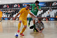 Carlos Herrmann of Southern and Jordan Joblin-Hall of Central during the Men's Futsal SuperLeague, Central Futsal v Southern United Futsal at ASB Sports Centre, Wellington on Saturday 31 October 2020.<br /> Copyright photo: Masanori Udagawa /  www.photosport.nz