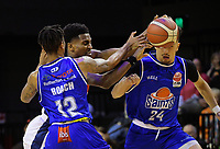 Kerwin Roach blocks Donte Ingram during the National Basketball League match between Cigna Wellington Saints and Nelson Giants at TSB Bank Arena in Wellington, New Zealand on Saturday, 15 May 2021. Photo: Dave Lintott / lintottphoto.co.nz