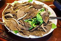 Nanjing, Jiangsu, China.  Ox Stomach Served for Lunch.