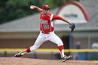 Batavia Muckdogs pitcher Connor Overton (56) delivers a pitch during the first game of a doubleheader against the Connecticut Tigers on July 20, 2014 at Dwyer Stadium in Batavia, New York.  Connecticut defeated Batavia 5-3.  (Mike Janes/Four Seam Images)