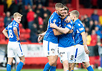 Aberdeen v St Johnstone…14.09.19   Pittodrie   SPFL<br />Liam Gordon and Anthony Ralston happy with a point at full time<br />Picture by Graeme Hart.<br />Copyright Perthshire Picture Agency<br />Tel: 01738 623350  Mobile: 07990 594431