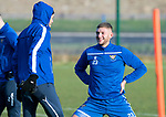 St Johnstone Training…….Liam Gordon pictured talking with Murray Davidson during training at McDiarmid Park ahead of tomorrow's SPFL fixture against Livingston.<br />Picture by Graeme Hart.<br />Copyright Perthshire Picture Agency<br />Tel: 01738 623350  Mobile: 07990 594431