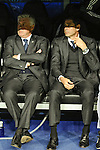 Real Madrid´s coach Carlo Ancelotti and second coach Fernando Hierro during 2014-15 Champions League match between Real Madrid and FC Shalke 04 at Santiago Bernabeu stadium in Madrid, Spain. March 10, 2015. (ALTERPHOTOS/Luis Fernandez)