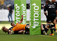 5th September 2021; Optus Stadium, Perth, Australia: Bledisloe Cup international rugby, Australia versus New Zealand; Tom Banks of the Australian Wallabies scores a try during the second half