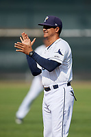 Princeton Rays hitting coach Wuarnner Rincones (44) before the first game of a doubleheader against the Johnson City Cardinals on August 17, 2018 at Hunnicutt Field in Princeton, Virginia.  Johnson City defeated Princeton 6-4.  (Mike Janes/Four Seam Images)
