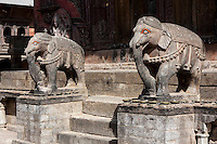 Nepal, Changu Narayan.  Elephant Guarding Entrance to the Temple.