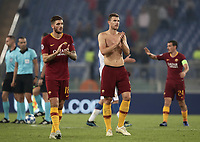 Football Soccer: UEFA Champions League  AS Roma vs PFC CSKA Mosca Stadio Olimpico Rome, Italy, October 23, 2018. <br /> Roma's Edin Dzeko (r) and Davide Santon (l) celebrate after winning 3-0 the Uefa Champions League football soccer match between AS Roma and PFC CSKA Mosca at Rome's Olympic stadium, October 23, 2018.<br /> UPDATE IMAGES PRESS/Isabella Bonotto